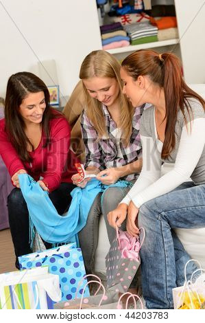 Young excited girls after shopping spree looking clothes