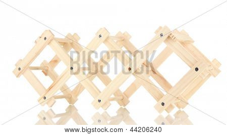 Wooden stand for bottles of wine isolated on white