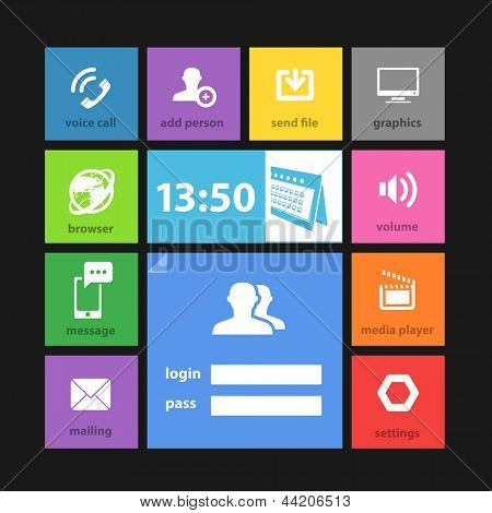 Web color tile interface template with modern icons
