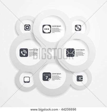 Paper circle infographic web template with media icons
