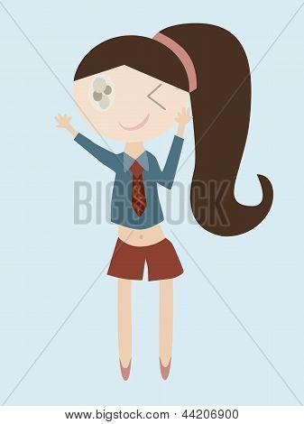 Cartoon Of Girl Bye Hand