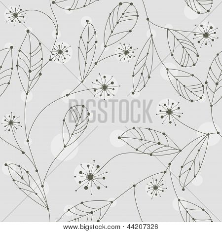 Cute Seamless Branches With Leaves And Flowers