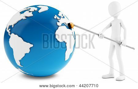 3D Man Cleaning Globe  With Broom
