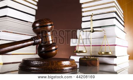 Judges wooden gavel and law books