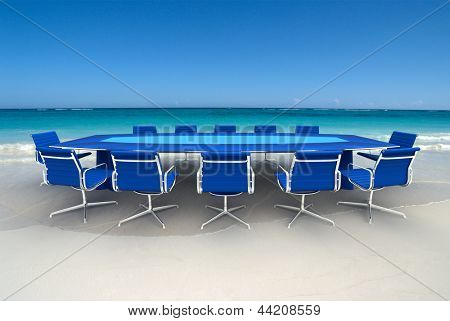 Meeting table and chairs on a tropical beach