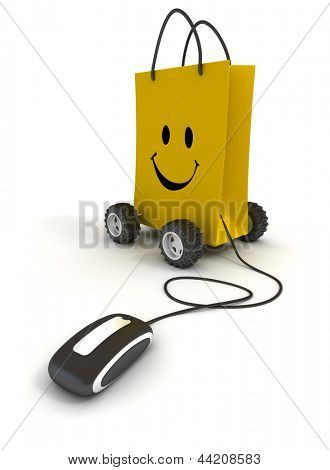 Smiling yellow shopping bag on wheels connected to a computer mouse
