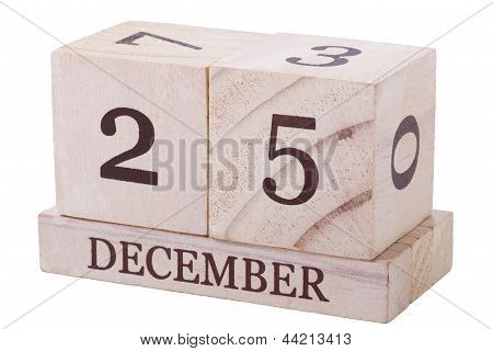 A wooden calender 25th December with clipping path