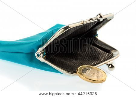 an almost empty wallet as a symbol photo for debt, poverty and bankruptcy
