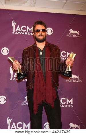 LAS VEGAS - MAR 7:  Eric Church in the press room at the 2013 Academy of Country Music Awards at the MGM Grand Garden Arena on March 7, 2013 in Las Vegas, NV