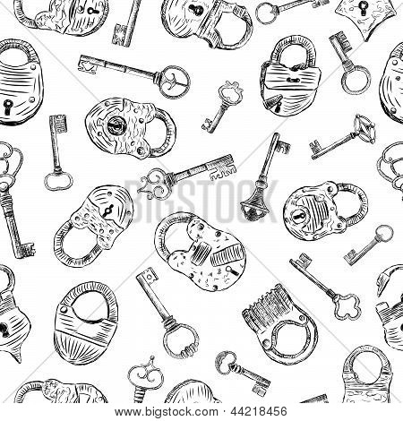 Pattern With A Padlocks And Keys.eps