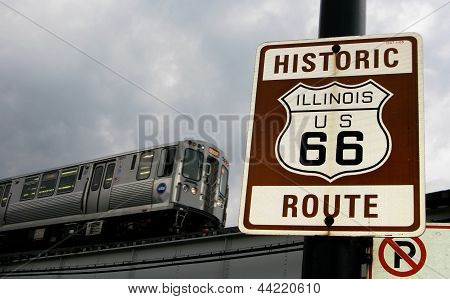 Route 66 sign and Chicago 'L' train