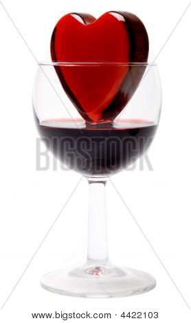 Glassy Heart In A Glass Of Wine