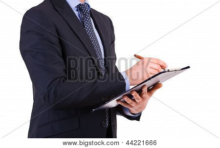 Business man holding a clipboard.