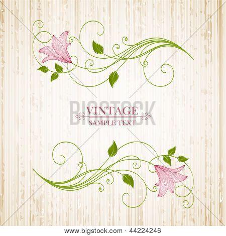 Vintage floral background with flower lily. Element for design.