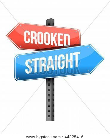 Crooked, Straight Road Sign