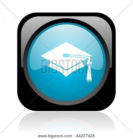 graduation black and blue square web glossy icon