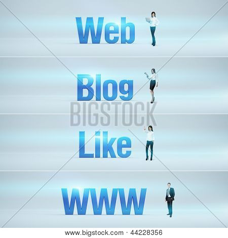 Web, Blog, Like, www : pack of banners with people (man / woman) and word. Businessman or businesswoman stands near big letters. Headers set.