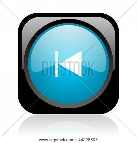 prev black and blue square web glossy icon