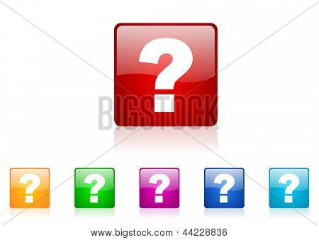 question mark square web glossy icon colorful set