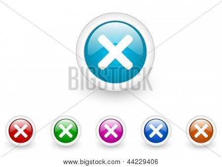 cancel circle web glossy icon colorful set
