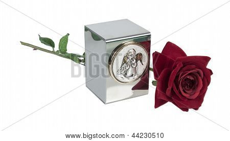 Child's Urn With Angel Image And Rose