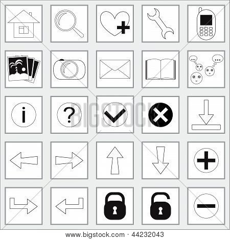 Collection of icons for a website isolated on white