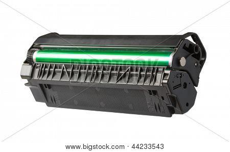 Closeup of printer toner cartridge isolated on white