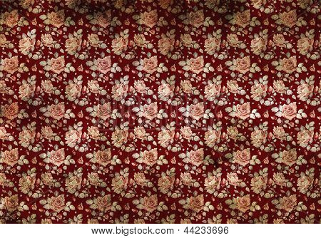 Retro Burgundy Wallpaper With Flowers