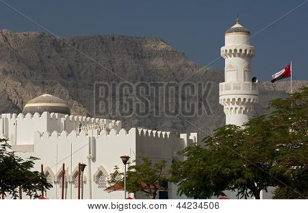 Mosque with dome and minaret