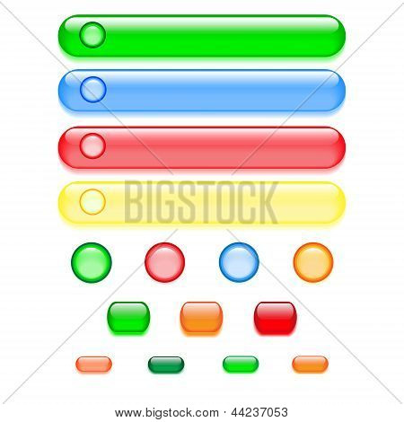 Vector colorful set of glass buttons