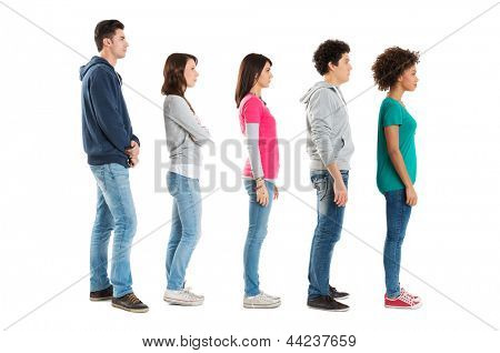 Multi Ethnic People Standing In A Row Isolated On White Background
