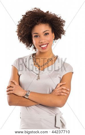 Girl With Arms Crossed Isolated Over White Background