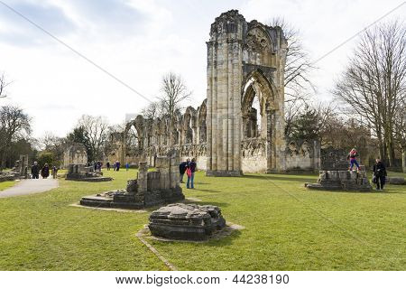 YORK, UK - MARCH 30: Ruins of Saint Mary's Abbey. Its construction started in 1086, and it was taken apart during the dissolution of the monasteries in 1539. March 30, 2013 in York.