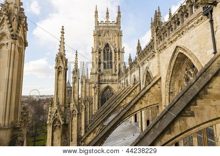 YORK, UK - MARCH 30: Arches on the roof of York Minster. The Minster dates back from 1291 March 30, 2013 in York.