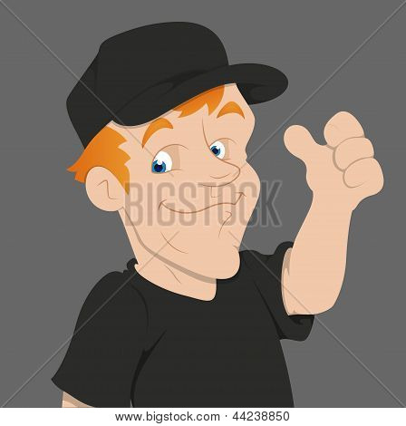 Man Thumbs Up - Cartoon Character - Vector Illustration