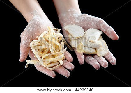 Types Of Raw Fresh Pasta Isolated On Black Background