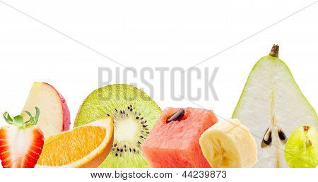 Fresh Fruits Isolated On White Background