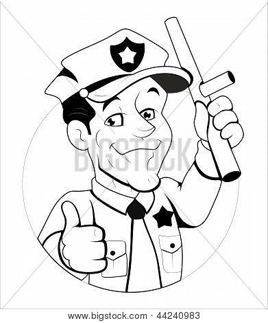 Cartoon ilustração de policial