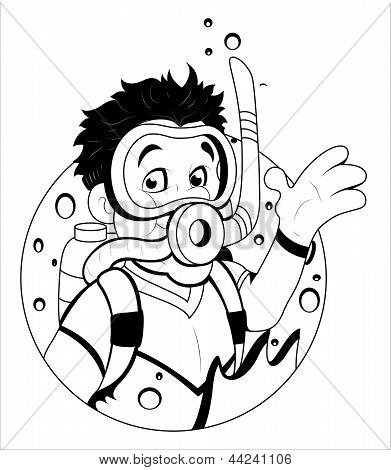 Cartoon Scuba Diver