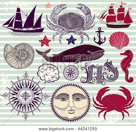 Vector set of nautical and sea symbols
