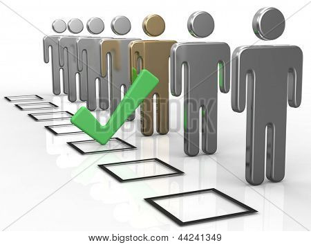 Check a box to choose the best person from people line