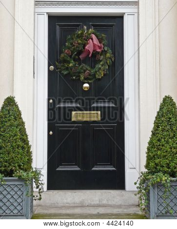 Front Door With Christmas Wreath