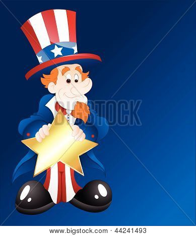 Uncle Sam with Golden Star Badge