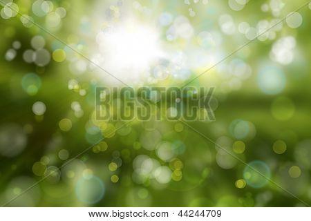 Kreisen des Lichtes auf grünem Hintergrund
