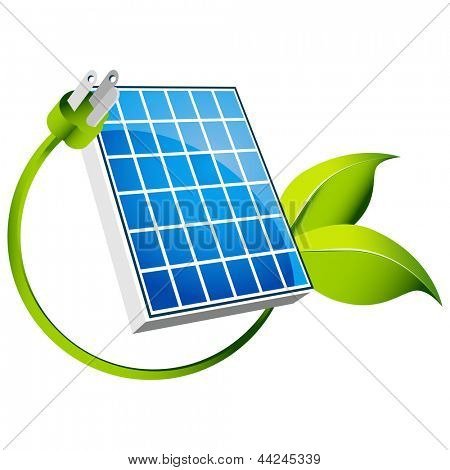 An image of a solar panel icon with green leaf plug.