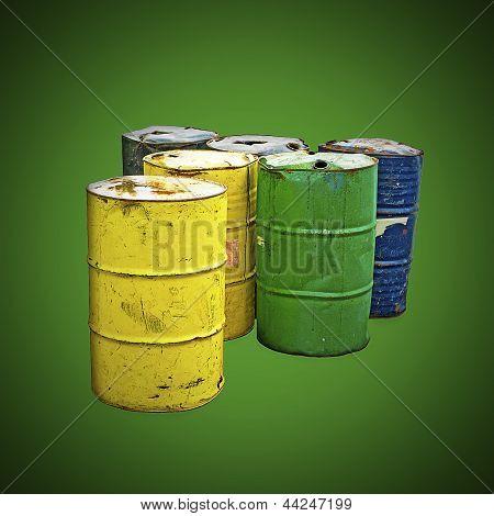Industrial Barrels on Environmental Green