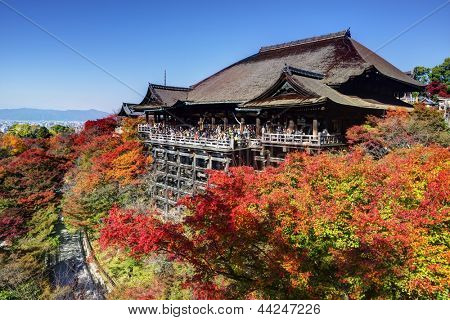 KYOTO - NOVEMBER 19: Tourist observe the annual autumn colors at Kiyomizu-dera Temple November 19, 2012 in Kyoto, JP. Founded in the 700's, the present stage structure dates from 1633.