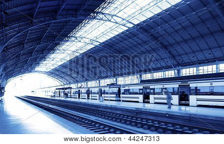 Railway Station On Blue Tone