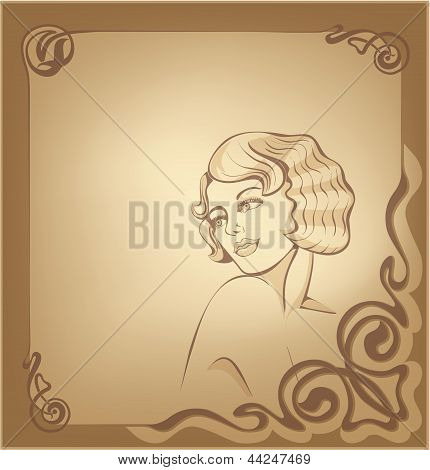 Roaring 20-s Art Nouveau Beackground With Blond Girl
