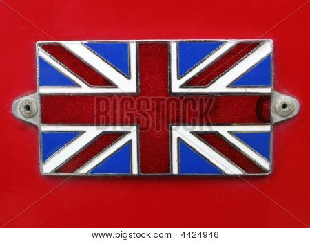 Vintage British Union Jack Flag Badge Close Up.